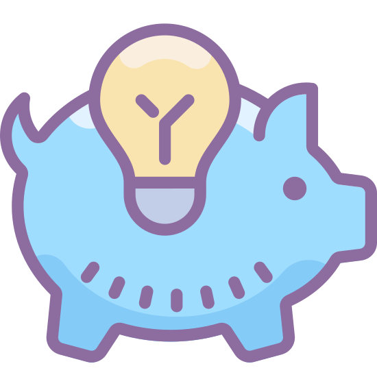 Idea Bank icon. This is a picture of a piggy bank. the pig has a tiny tail that is curved upwards. you are looking at the side of the piggy bank. in the center of the pig is a lightbulb.