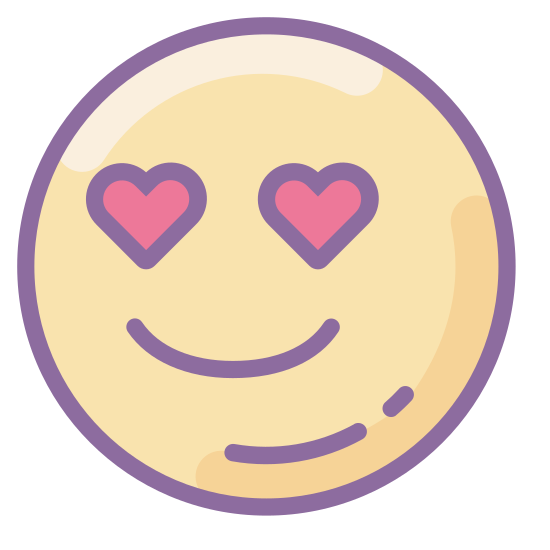 """In Love icon. The """"In Love"""" icon is represented by a round, smiling face.  It has no nose, and there are two small hearts where the eyes should be.  There is no hair, just a simple round face accented with a u-shaped smile and heart-eyes."""