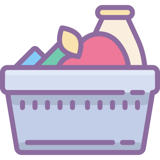 Ingredients icon. The logo displays a shopping basket one would use in a grocery store in lieu of a cart for carrying smaller amount of items, indicating shopping for specific ingredients. Inside the basket is a few items, one of which is a bottle as if it's displaying milk, and the other two are vague shapes.