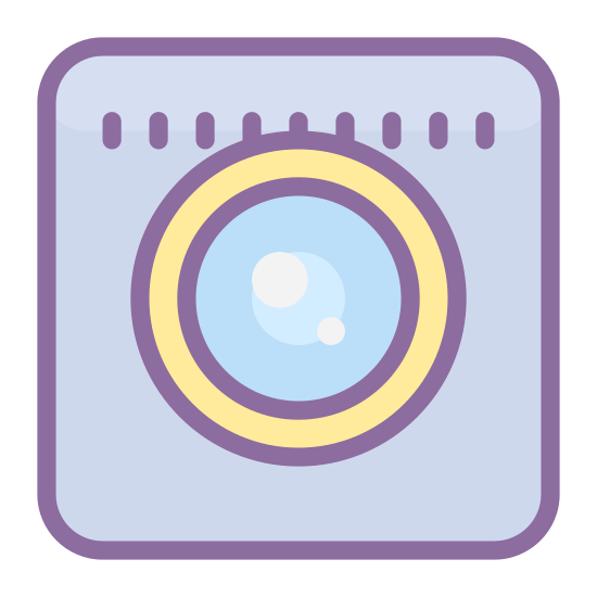 Zintegrowana kamera internetowa icon. This icon is a small square with rounded edges. Inside the square is two circles. One circle is smaller than the other and is inside the larger circle, which is in the middle of the square. The image looks like the lens of a camera.