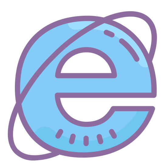 Internet Explorer icon. This logo is a lowercase e. There is a ring going around it similar to a ring around Saturn.