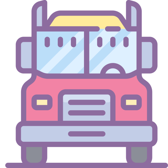 Semi Truck icon. This is an icon depicting an interstate truck. The truck is facing the viewer and has two wheels showing that are small wide rounded rectangles. There is a front window, two rear-view mirrors, and two headlights. There is also a grill and a canopy showing.
