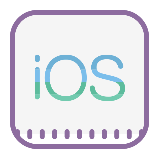"Logo iOS icon. It's a logo for the Apple iOS operating system. The middle of the logo are the letters ""i"" ""O"" and ""S"" where the ""i"" is lowercase and the ""O"" and ""S"" are both uppercase. The letters are placed inside of a square with rounded edges."
