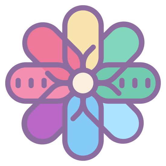 iOS Photos icon. This icon is a sunburst shaped flower blossom. It is made of connected geometric shapes. The center of the flower blossom is a circle, with diamond, or teardrop shaped petals extending from that, surrounded by arc shaped round pedals.