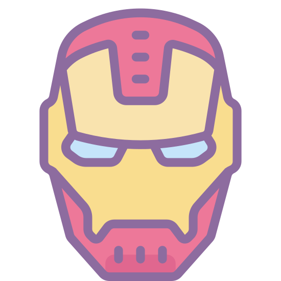 Iron Man icon. It is the head or mask of Iron Man. It is head-shaped, with two smaller slits for the eyes. It has small protrusions for the ears on each side about halfway up the mask. There is also a frontal faceplate within the mask.
