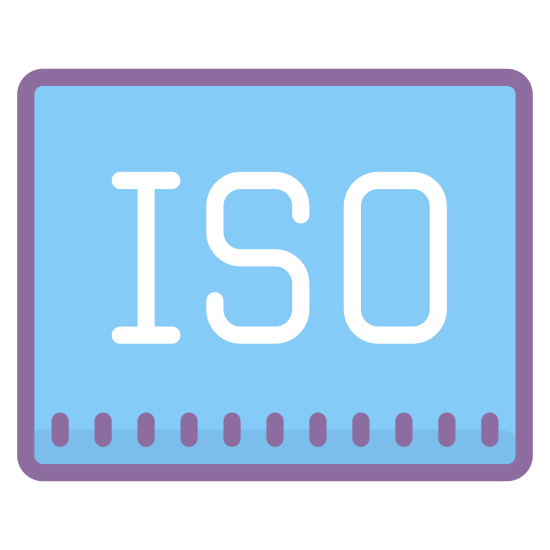 """ISO icon. The logo is a rounded rectangle that is longer horizontally than it is vertically. On the inside of the rectangle are the letters """"ISO"""" in all capital letters. The letters are centered on the inside off the rounded rectangle."""
