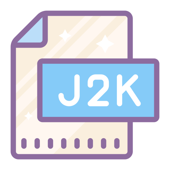 "J2K icon. It's a logo of a piece of paper with the upper right side of the paper folded over slightly to make a triangle. Inside the paper are the letters ""J2K"" written slightly below center."