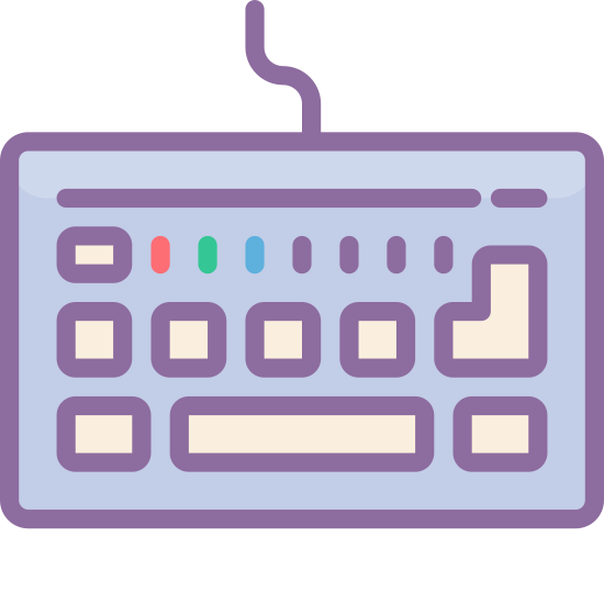 Klawiatura icon. The icon is a keyboard with a simplified key layout, consisting of a rounded rectangle filled with a series of solid squares and rectangles, representing keys. It has a curvy wire leading out from the top.