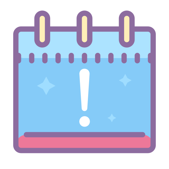 Urlop icon. This icon looks like an exclamation mark in the middle of a calendar page. The punctuation mark is placed directly in the center of the calendar page, and the calendar page is a square.