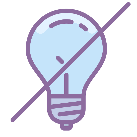 Lumière éteinte icon. This is a lightbulb indication to show that the light is turned off. It shows a lightbulb, with a large bulbous circle at the top which tapers off onto the bottom, and there's a large X in the middle to indicate the light is off.