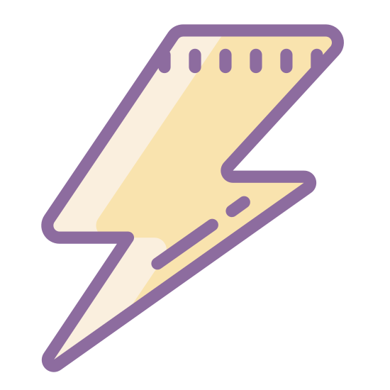 Blitz icon. This is a figure of a lighting bolt. The lightning bolt consists of a rhombus like figure pointing downwards, another rhombus figure pointing horizontally, and a final triangular shape pointing downwards.