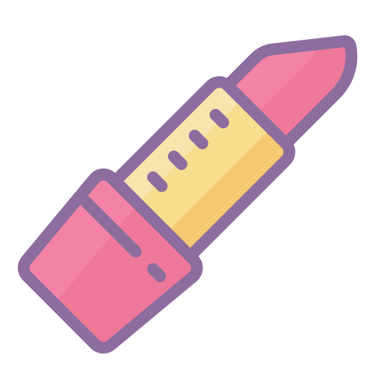 Lipstick icon. It's a picture of a lipstick. The lipstick is without the top cap and the lipstick is sticking out a bit and used in an angle where the left side is worn down more and in an angle going to the right.