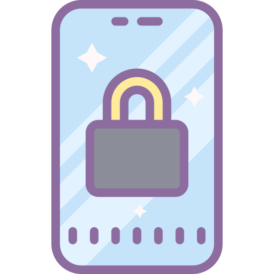 Lock Portrait icon. There is a vertical rectangle with rounded edges. Inside is a slightly smaller rectangle with squared edges. There is a dot in between the two rectangles located at the center bottom of the larger one. On the right side of the large rectangle is a lock shape that is much smaller.