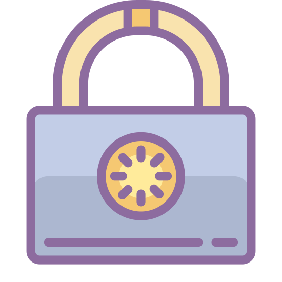 Lock icon. This is a graphic representation of a pad lock. The kind of lock that requires a key. A very simple image.
