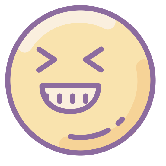 LOL icon. The icon is a face with a large smile. The face almost looks like it is laughing with the points of the lips raised high and the curves designating the eyes displayed as joyful curves.