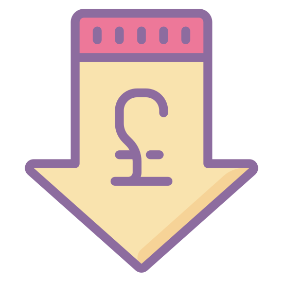 Low Price Pound icon. The image is of an arrow. The arrow is pointing down. The arrow is thick and outlined. One the inside of the arrow in the blank space there is the symbol for the pound sterling. It is centered in the inside of the arrow.
