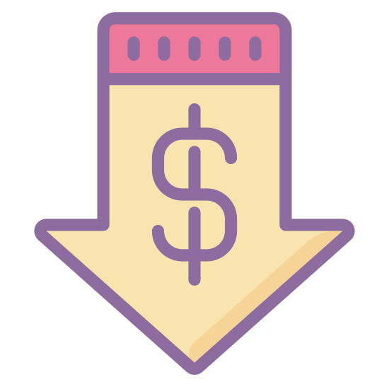Bas prix icon. Its a logo with a dollar sign right in the in the center of it.  Around the dollar sign is an arrow that is pointed in the downward direction.  Essentially, its a logo of a down arrow with a dollar sign in the middle.