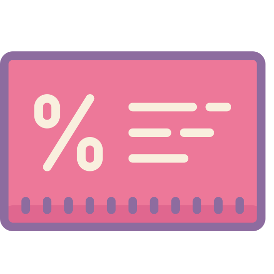 Loyalty Card icon. This is a picture of a rectangular shaped box with rounded corners. in the center of the box is the percent sign. it's trying to represent some type of card.