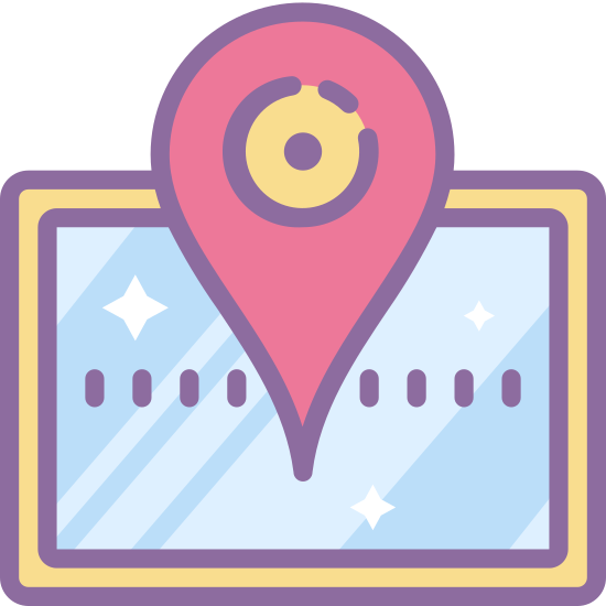 Marqueur de plan icon. It's a logo that represents a map marker.  In the middle of the logo is a upside down teardrop with a circle in the middle of it.  The teardrop is point to an exact location on a map.  The logo also has an open road map that is a trifold.