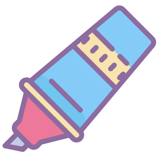 Marker Pen icon. It's a icon of a marker, with the tip pointing to the southwest and the end pointing to the northeast. The marker is shaped like an ice cream cone, thinner as it reaches the end and fatter as it reaches the tip. The tip area is shaped like a sharpened pencil. The tip is shaped like a box cutter blade.