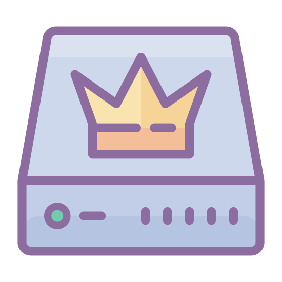 Master icon. This is a picture of a square with a line going through the bottom of it, horizontally. On the upper part, there is a crown with a line under the crown, and on the bottom, there is a black dot.