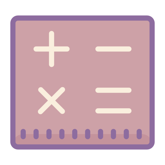 "Math icon. This ""math"" icon consists of a perfect square divided in quarters perfectly, vertically and horizontally. In the upper left quarter is the perfect cross of the ""addition sign."" In the upper right quarter is the horizontal line of the ""subtraction sign."" In the lower left quarter is the two diagonal lines of the ""multiplication sign."" In the lower right quarter are the two vertical lines of the ""equal sign."""