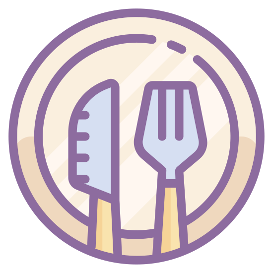 Posiłek icon. There is a single dish with only one fork and one knife on it. There isn't much detail to the fork or knife, just three prongs on the fork and a simple butter knife.