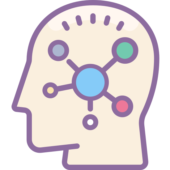 "Mind Map icon. This is a logo of what many would describe as a ""brainstorm cloud"". There is one large circle in the center. From the circle, are several smaller circles branching off in different directions."
