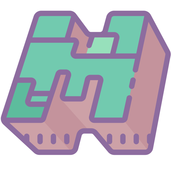Minecraft Logo icon. A maze like figure which is in the shape of the letter H. It could also perhaps be a Lego piece drawing but only two dimensional. It's very ambiguous to what exactly the shape is or what purpose it could actually serve.