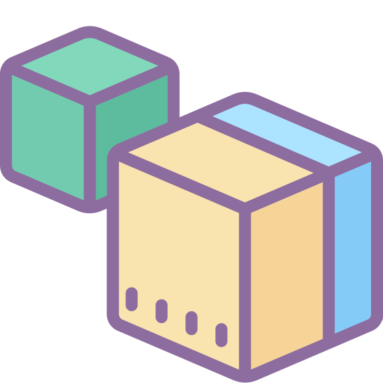 Module icon. The icon is composed of a hexagon with isometrically drawn cubes at the north, southwest, and southeast vertices. The icon represents a module, or a modular devices to be added to another in order to increase their paired functionality with novel features.