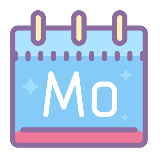 Poniedziałek icon. A square with the Capital letter M lower case O inside of it. On top of the square is a smashed rectangle that has 2 vertical tiny rectangle coming out of the top. Similar to what a desk flip calendar would be