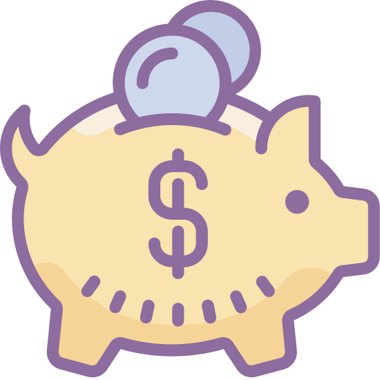 Skarbonka icon. The money box, a euphemism for piggy bank. A cute little pig, probably full of children's change, viewed from the side. The only remarkable thing about it is the handle for weight on the pig's back.