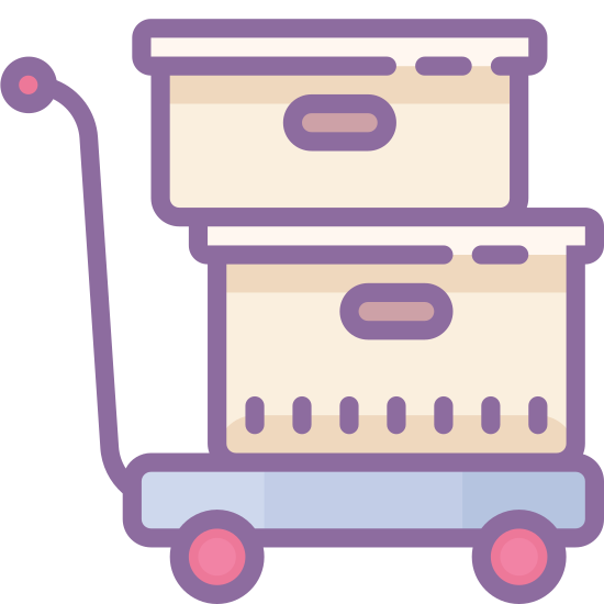 Trolley icon. It's an icon of a hand-trolley manuevering two stacked boxes. The trolley is facing the right, as though it's being moved in that direction, and it's leaning a bit backward as though somone is pushing it forward.