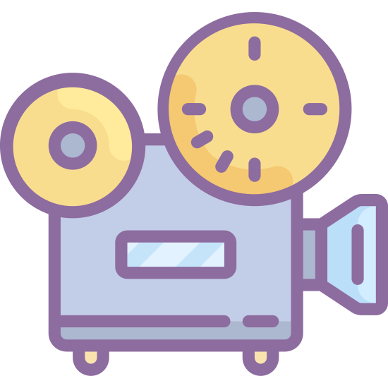 Projektor filmowy icon. This logo indicates a movie projector from the side. The center is a large square as a base, with two legs holding it up. At the front of the square is the lens in which the movie projects through, and the top of the square is two circles that the film runs through and feeds into the machine.