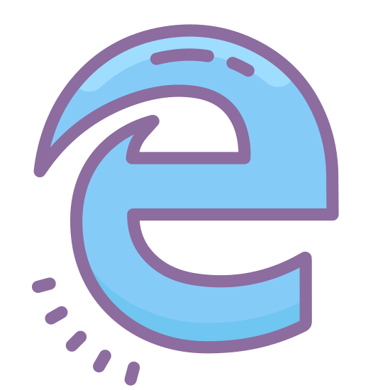 Microsoft Edge icon. It's a logo of MS Edge reduced to a giant cursive letter E. The letter E has a two tails on the top left hand side. It is the logo for the MS Edge internet browser.