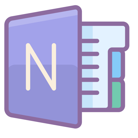 MS OneNote icon. This is a computer icon for Microsoft OneNote showing an open binder with pages of writing on the inside. inside the binder there are also rectangular tabs on the right side of the pages to quickly change to a different part of the binder. On the outside of the binder is a large, bold letter 'N'.