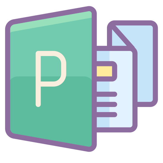 MS Publisher icon. The logo is of a long piece of paper, folded like an accordion. Three folds are visible, showing four facets of the paper. The facet in the front has a capital letter P. The second facet has lines that indicate text. Facets three and four are blank.