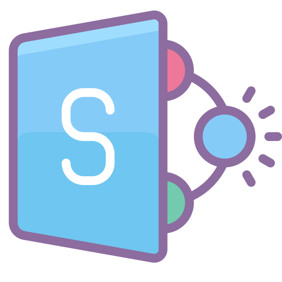 MS SharePoint icon. It is a bold letter S in side a square slanted so that far left side appears to be further back than the near right side. There are two circles evenly spaced attached to the near right side and from then a simi circle is drawn to a 3rd circle of the same size as a point.