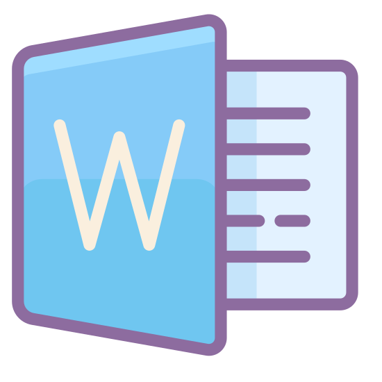 Microsoft Word icon. This is a picture of an icon with the capital letter W on it's front. the page behind it shows four lines of writing, representing a word document. the page with the W is being turned away from the page behind it
