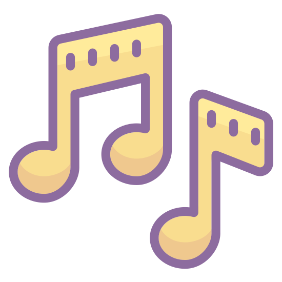 Musical Notes icon. This is a drawing of a musical note. There are two notes on the drawing and the one on the left is slightly lower than the one on the right side.