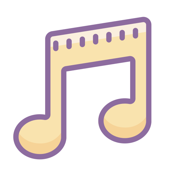 Musical icon. This particular icon features a shape that looks like a music note that you would see in a music book or on a sheet of music.  There are no other shapes around the music note.