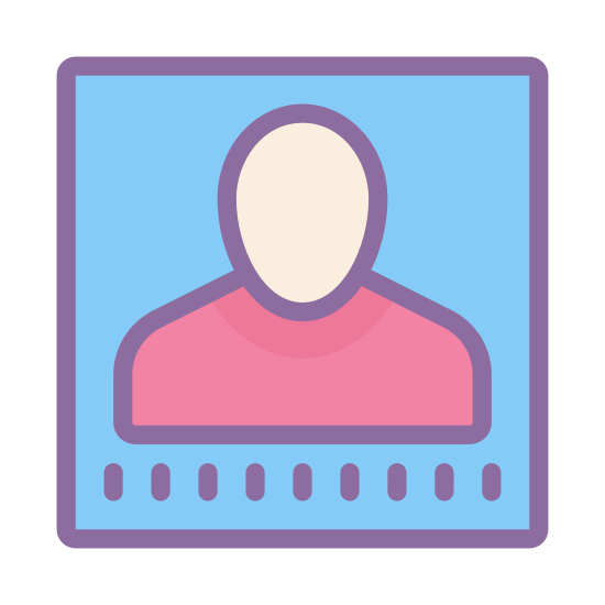 Имя icon. The icon is shaped like a square with rounded edges at all four corner. Inside of the square is the silhouette shape of a male person. The head of the silhouette starts almost at the top of the square and the shoulders end at the bottom.