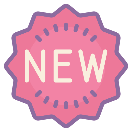 New icon. The word new is in a thirteen point star. The letters of the work are centered. The letters are also all capitalized. The center point of the star is pointing straight down but no points are going straight up.