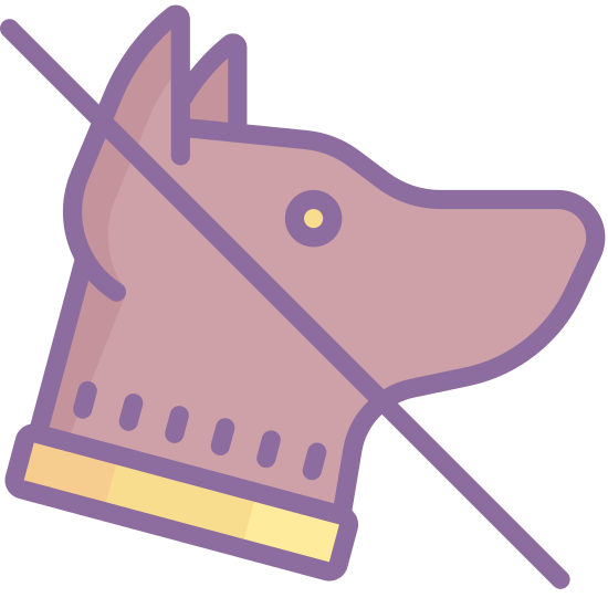 No Animals icon. There is a single canine animal, what seems to be a dog but what could also be a wolf, with a line going through it's head that seems to be crossing it out.