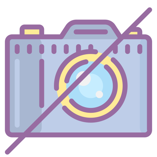 "Zakaz używania aparatu icon. An outline of a traditional camera, slashed through diagonally by an unbroken line in the universal symbol for ""no"", or not allowed. Reminiscent of the icon of a camera used on a phone, but struck through."