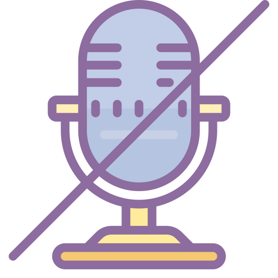 Mute Unmute icon. It's a logo of a microphone. The microphone is the old style that radio announcers of the thirties might have used. There is a slash over the microphone that would indicate that a microphone is either not available or is not allowed for use.