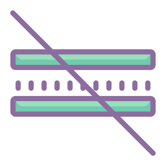 Nie równe icon. This icon is depicting a 'not equal' symbol. The symbol is characterized by two horizontal lines parallel to each other that are bisected diagonally with a line crossing through both lines.