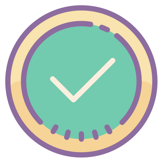 Ok icon. There is a check mark, which is placed in the middle of a larger circle. The check mark looks similar to a reversed L, and is slanted so that the point where the two lines of the L meet is the lowest point. It is a standard check mark.