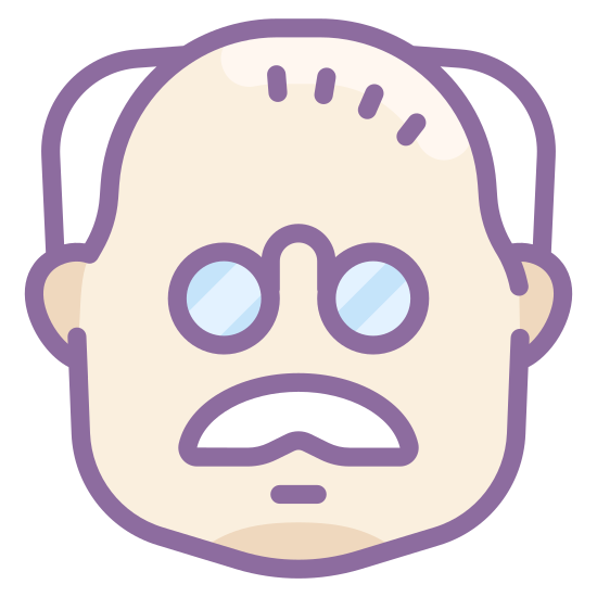 Starzec icon. A logo of a head indicating an older man. Drawing is from the front rather than sides. Logo has hair on side of the head, thinning hair on top. Logo has square glasses. No mouth.
