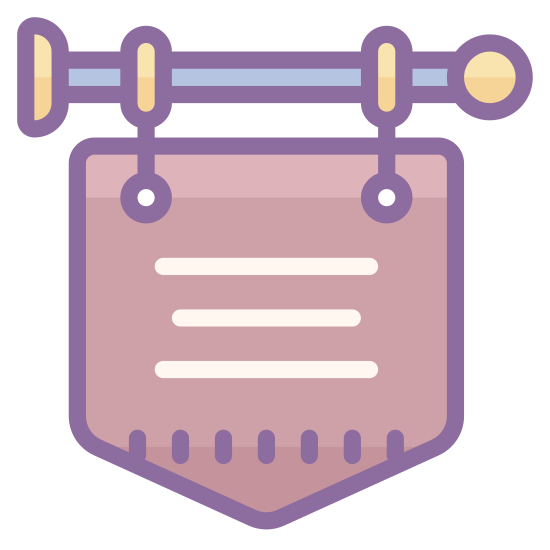 Old Shop icon. The icon is a simplified depiction of a placard used to describe a shop in medieval times. The placard, itself a pentagon pointing downward, has two lines inscribed on it, and is connected to a metal pole that juts out from a fixture, from the right.